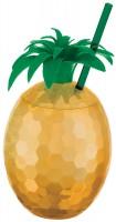 Tutti frutti Ananasbecher mit Trinkhalm
