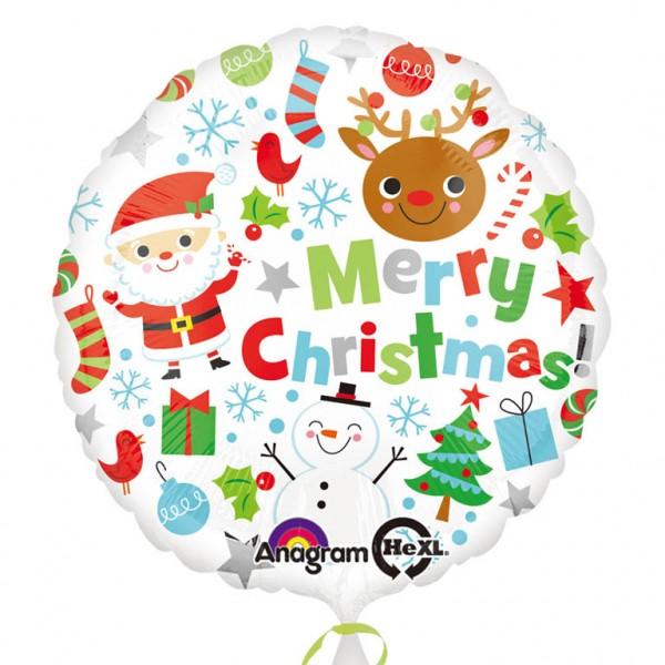 Ballon aluminium Monde de Noël 43cm