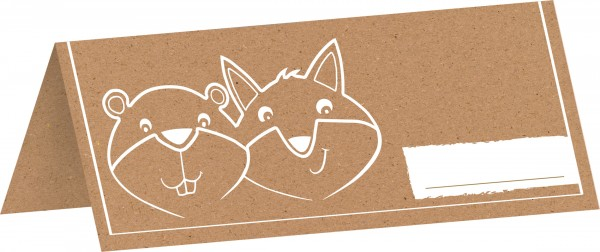 8 place cards with fox & beaver symbol