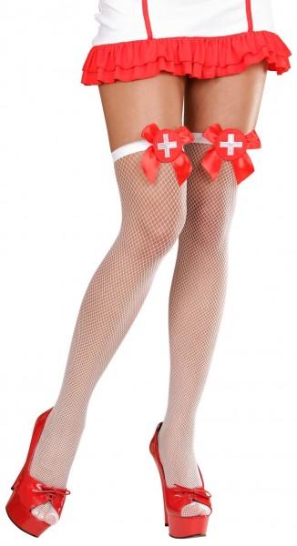 Weiße Krankenschwester Netzstrümpfe Overknees 1