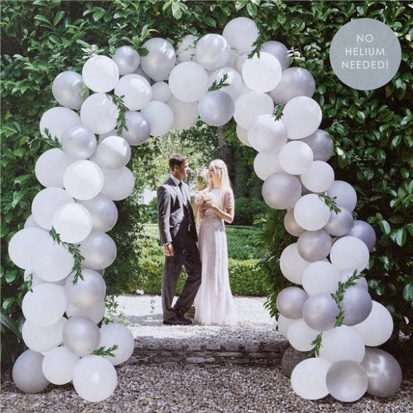 Wedding balloon arch set white silver