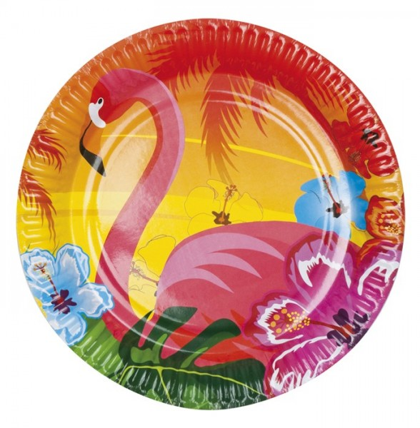 6 platos de papel Hawaii Flamingo Beach