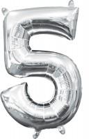 Mini Folienballon Zahl 5 silber 35cm