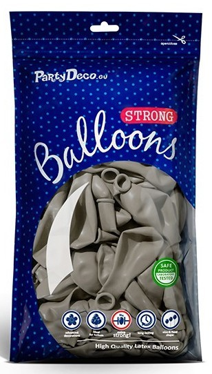 100 Partystar Luftballons hellgrau 30cm