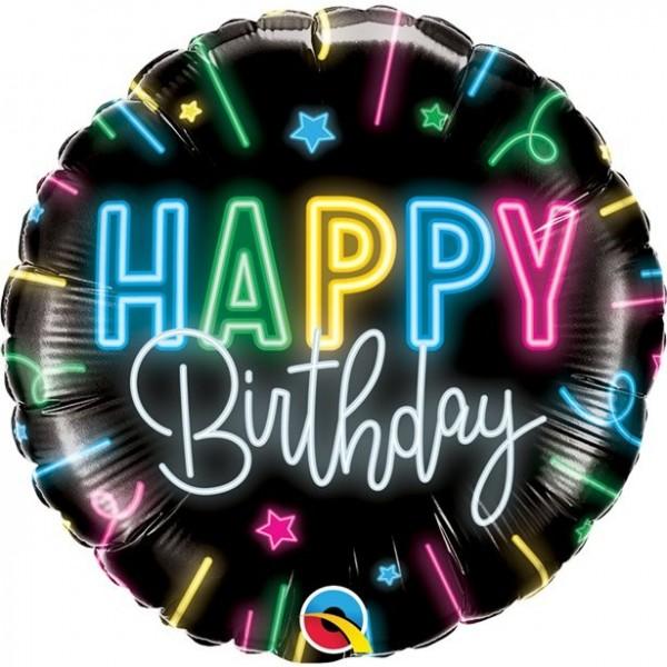 Neon Party Tillykke med fødselsdagen folie ballon 46cm