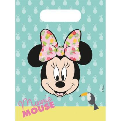 6 bolsas de fiesta Tropical Minnie Mouse 30 x 17cm