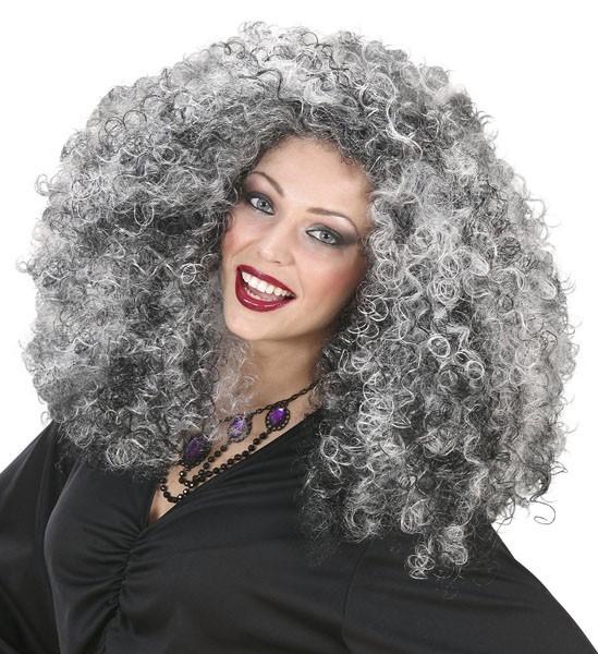 Perruque femme cheveux bouclés argent