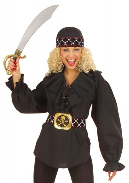 Blusa pirata pomposa negra