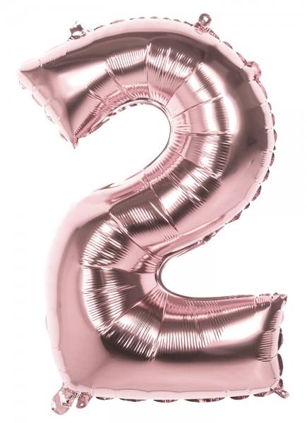 Ballon numéro 2 en aluminium rose doré 36cm