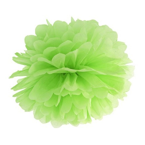 Blumiger Papierpompon in Apfelgrün 25 cm