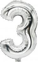 Folienballon Zahl 3 silber 43cm