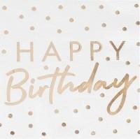 16 Goldene Handlettering Birthday Servietten 33cm