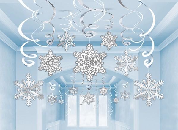 30 espirales de decoración copos de nieve
