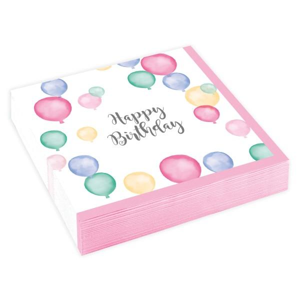20 Pastell Geburtstag Servietten 25cm