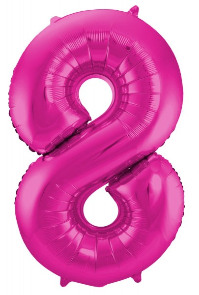 Foil balloon number 8 pink 86cm