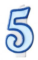 Zahlenkerze 5 blau 7cm