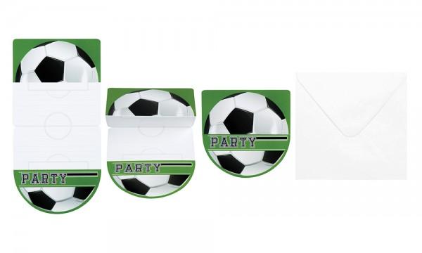 6 Einladungskarten Fußball-Star Faltkarte