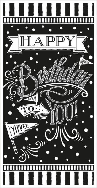 Affiche de porte anniversaire noir et blanc 85cm x 1,65m