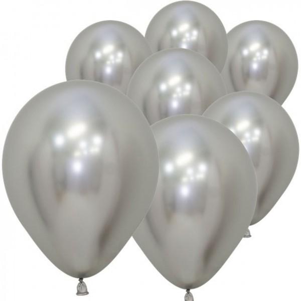 50 Silberne metallic Ballons Rumba 12,7cm