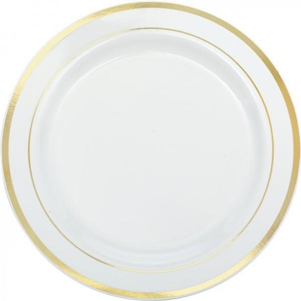 10 white gold rim plates 26cm