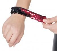 Rot-schwarzes Wendepailleten Armband