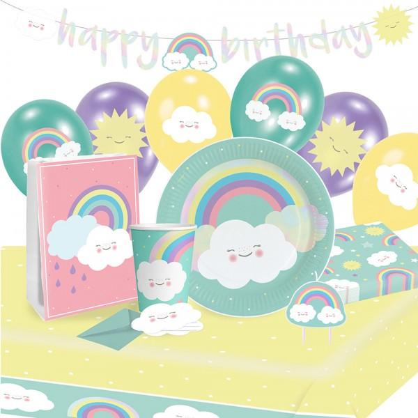 Party Set Regenbogen und Wolken 61-teilig