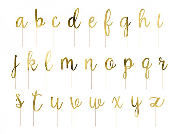 Ozdoba do ciasta złote litery 53 szt