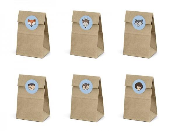 6 sacchetti regalo in legno con adesivi animali