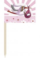 Baby Girl Cocktail Sticks Storchmotiv