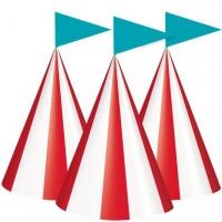 8 Zirkus Festival Partyhüte 15cm