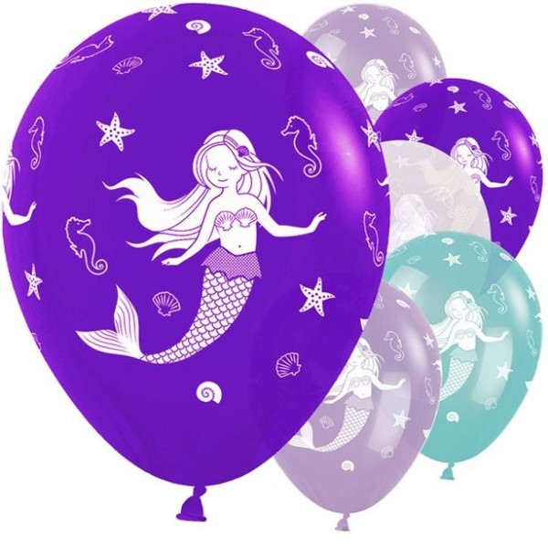 25 Happy Meerjungfrau Latexballons lila 30cm