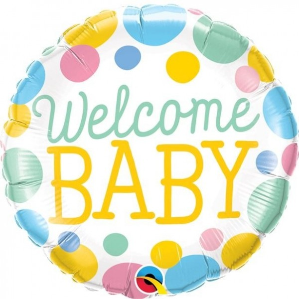 Dot foil balloon baby shower Welcome Baby
