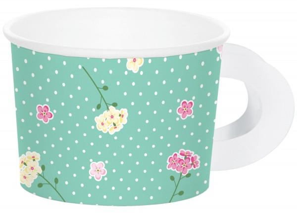 8 Florale Teeparty Tassen 6,4 x 8,8cm
