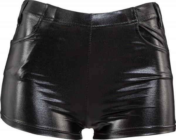Sexy Lederoptik Hotpants Schwarz