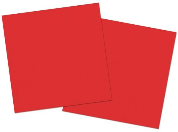 20 serviettes rouge coquelicot 33cm
