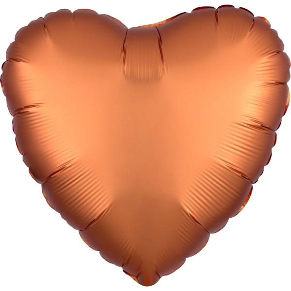 Palloncino cuore in raso nobile ambra 43cm