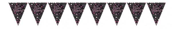 Pink Happy Birthday Wimpelkette 4m