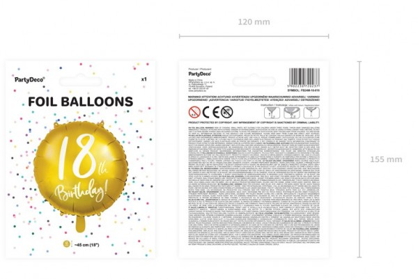 Glossy 18th Birthday Folienballon 45cm