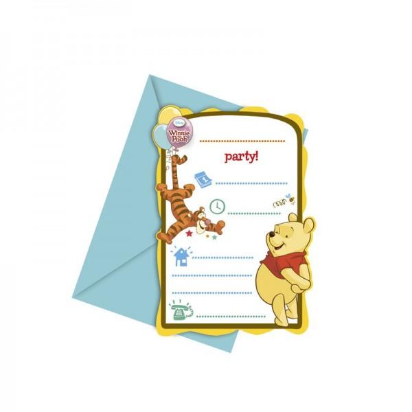 6 Winnie Puuh Einladungskarten Honey