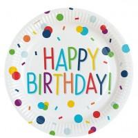8 Konfetti Geburtstags-Partyteller 23cm