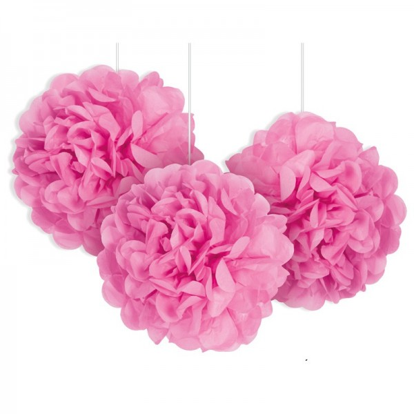3 pink decorative fluffy pompoms 23cm