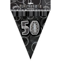 50. Geburtstag Black And White Party Wimpelkette