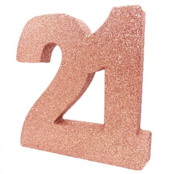 Glittering rose gold number 21 stand