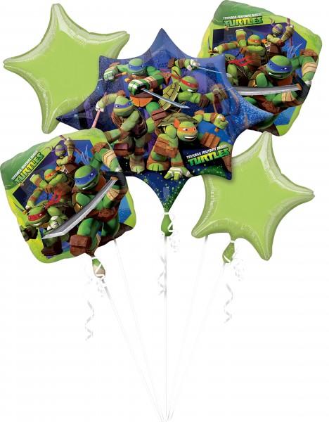 5 Folienballons im Ninja-Turtles-Design