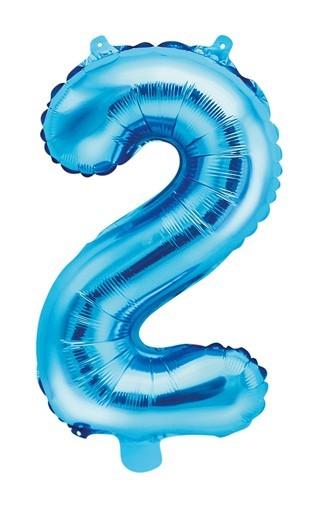 Ballon aluminium numéro 2 bleu azur 35cm