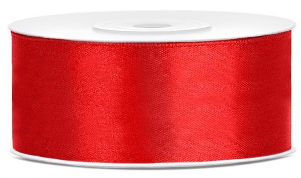 Ruban satin 25m rouge largeur 25mm
