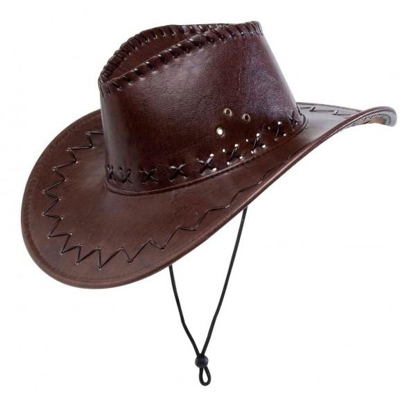 Cappello cowboy marrone con cuciture