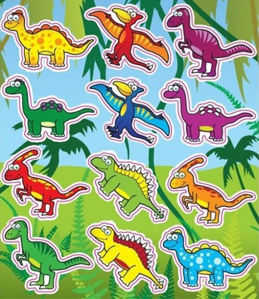 1 dinosaur sticker sheet 11.5 x 10cm