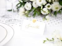 10 Herzchen Tischkarten gold