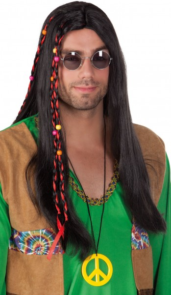 Hippie Lover Perücke Schwarz